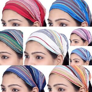 US STOCK 10 Pieces Women Cotton Headband Striped Wide Hairband Lot Bandana Yoga