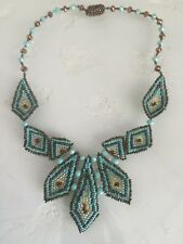 Czech Glass Bead Multi Triangle Statement Pendant Necklace Turquoise Bronze Gold