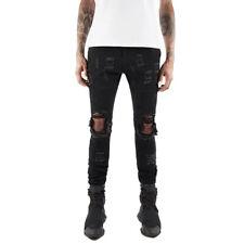 Fashion Mens Distressed Ripped SKINNY Slim Fit Jeans Denim Black Pencils Pants Regular 32