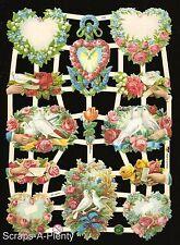 Die Cut Scrap German Victorian Style - Valentine / Love Flowered Hearts  EF7354