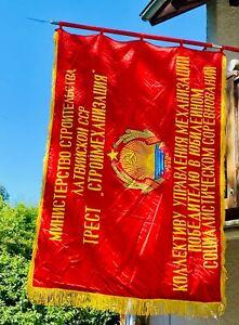 Flagge UdSSR Fahne Kommunismus 1984 SSR Lettland Seide Vintage Ostalgie Retro