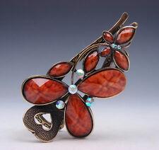 Tibetan Style Golden Hair Clip Beads Flower Blossoms & Butterfly #02021604