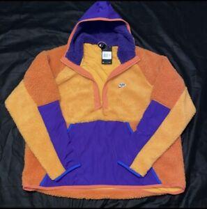 Nike Sportswear Half Zip Sherpa Hoodie Men's XXL Orange Purple Blue BV3766-886