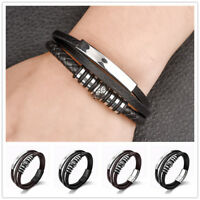 Men Braided Leather Bracelet Multilayer Bangles Stainless Steel Punk Black Brown
