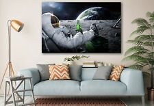 View of Earth Art From The Moon Cool Astronaut Edition Painting Canvas Print Art