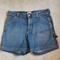 Lee Women's Just Below the Waist Tummy Slimming Blue Demin Carpenter Shorts S-14