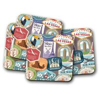4 Set - Retro Travel Coaster - Stamps Holiday Adventure Travelling Gift #8610