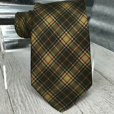 Cantini Firenze Mens Necktie Green Blue Plaid Hand Made Italy Silk