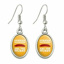 Humor Dangling Drop Oval Charm Earrings German Sausages are the Wurst Funny