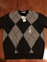 NWT Geoffrey Beene Mens Gray Acrylic Extra Soft Sweater XL X-Large MSRP: $55