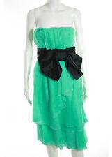 NWT PRADA Aqua Black Silk Strapless Bow Accented Dress Sz 8 $4400 3945013