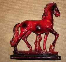 ANCIEN CHEVAL AU TROT signé A SANTINI TERRACOTTA VERNI ROUGE FEU 1950 Horse