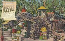 Postcard Fl Miami Tropical Hobbyland Wishing Well Seminole Indians 1940s Mint