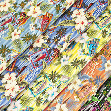 Cotton Fabric FQ Hawaii Island Sea Beach Hibiscus Floral Coconut Car & Boat VS20