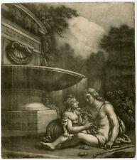 Rare Antique Master Print-LANDSCAPE-FOUNTAIN-SHEPHERD-Titian-Vaillant-ca. 1670