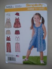 Simplicity Sewing Pattern 1453 - Girls Dress Top Pants Shorts Hat - Sizes 3-8