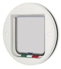 More details for cat mate 4-way cat flap for glass door - white, magnetic cat flaps, lockable