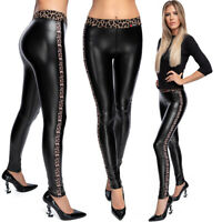 Womens Faux Leather Leggings Leopard Stripes Stretchy Pants Latex Trousers FL04