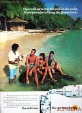 1979 'BACARDI' Rum Advert #4 - Original (Beach Rock Barman) Print AD