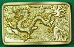 "Belt Buckle ""DRAGON"" Solid Brass, Heavy, Custom Made to fit 4 cm Belt, DIY."