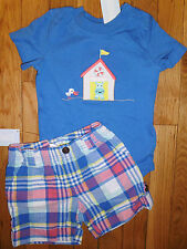 6 9 12 M Gymboree 2pc HIPPO Cabana PLAID Shorts Bodysuit Outfit New Baby Boy NWT