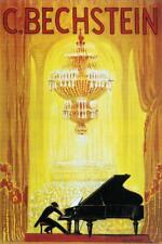 Carl Bechstein Pianoforte Piano German Vintage Ad inch Poster 24x36 inch