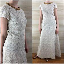 Vintage 60s Gold White Metallic Knit Maxi Dress Boho Hippie Sequined S M