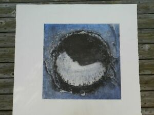 """Abstract Art, Print,MID CENTURY MODERN,29""""X26"""",EMBOSSED SERIGRAPH,BLUE/WHITE"""