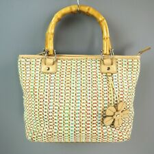 Relic Crochet Bamboo Wood Handle Flower summer satchel purse handbag