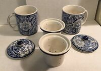 SET OF 2! CHINESE TEA MUG /CUP Infuser & Lid BLUE FLORAL CERAMIC EXCELLENT