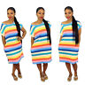 Summer Women Short Sleeves Colorful Stripes Print Casual Loose Vocation Dress