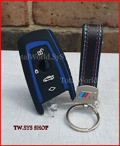Silicone Fob, Key Case Cover for BMW F10 F20 F30☆ For 4 Buttons + Keyring ☆ Blue