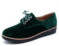 LADIES GREEN FAUX-VELVET FLAT LACE-UP BROGUES SMART CASUAL SHOES PUMPS SIZES 2-8