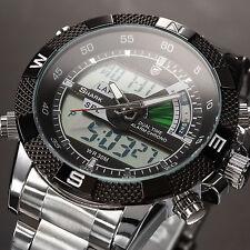 SHARK Men's Black Dial LCD Dual Time Date Day Digital Sport Wrist Watch