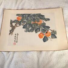 Antique Silk Painting Orange Tree Japanese