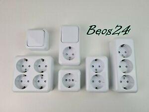 Aufputz Steckdose 2/3/4 Fach Aufputz Schalter Steckdosen AP Innenbereich weiß