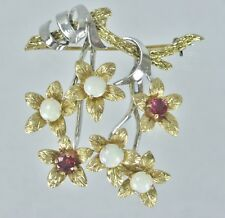 Vintage 14k Two Tone Gold Ruby Opal Flower Floral Brooch Pin