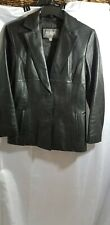 Wilsons Black Leather Ladies Jacket, LS , 2 Button Size Med