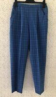 Vintage Robert Norfolk Blue Checked High Waist Wool Blend Trousers Size M