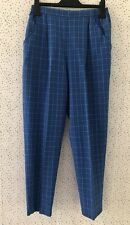 Vintage Robert Norfolk Blue Checked High Waist Wool Blend Trousers Size M