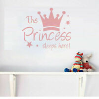 Pink Crown Wall Sticker Decal Mural Wallpaper Kids Baby Girl Room Decor Gift