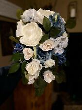 Wedding Bridal Bouquet Dusty Blue And Off White Eucalyptus Rose & Peony