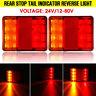 2X 8 LED Rear Stop Brake Indicator Tail Light Lamp Trailer Truck Caravan Van 12V
