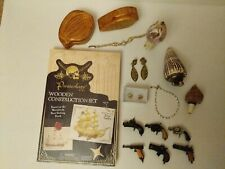 boxes, shell lighter & whistle, puzzle Vintage to now: pistol charms, trinket