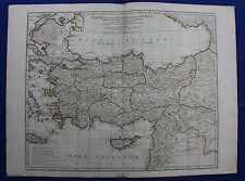 Original antique map ASIA MINOR TURKEY, BOSPHORUS, CYPRUS, CRETE, D'Anville 1795