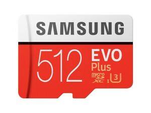Samsung 512GB EVO Plus Micro SD U3 Class 10 card with Adapter