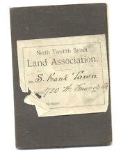 VINTAGE 1891 LAND Association BY-LAWS BOOKLET - N. 12th St. - Philadelphia