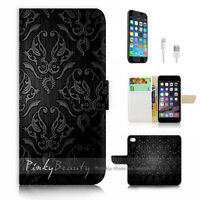 ( For iPhone 6 / 6S ) Wallet Case Cover P1034 Damask Pattern