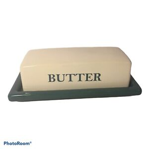 MAINSTAYS TURQUOISE and WHITE CERAMIC BUTTER DISH