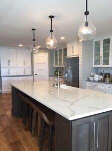 White Calacatta Luxury Quartz designer Kitchen worktops marble bespoke celebrity